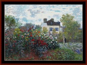 corner of the garden - monet cross stitch pattern by cross stitch collectibles