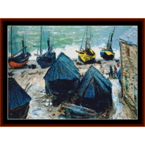 boats on the beach - monet cross stitch pattern by cross stitch collectibles