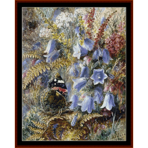 bell flowers and butterfly - a.d. lucas cross stitch pattern by cross stitch collectibles