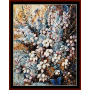 heather and butterfly - a.d. lucas cross stitch pattern by cross stitch collectibles