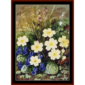primroses and violets - a.d. lucas cross stitch pattern by cross stitch collectibles