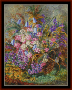 bell flowers and butterfly (small) - a.d. lucas cross stitch pattern by cross stitch collectibles
