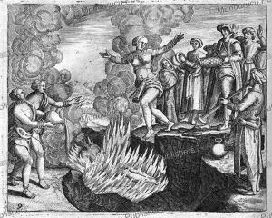 The Hindu practice of Suttee, the widow of a Brahman throws herself in the fire, India, Jan Huygen van Linschoten, 1610 | Photos and Images | Digital Art
