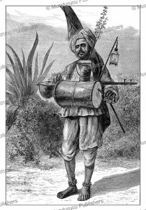 a hindu mendicant (buddhistic monk) pilgrim, india, the london illustrated news, 1876