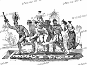 Thimithi or fire walking ceremony is a Hindu festival originating in Tamil Nadu, South India, Jules Garnier, 1871 | Photos and Images | Digital Art