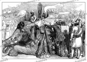 The Prince of Wales mounting an elephant at the old palace of Lushkur, India, The London Illustrated News, 1876 | Photos and Images | Digital Art