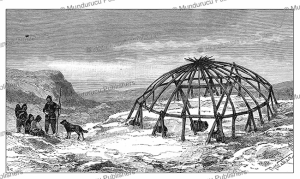 the frame of a chukchi tent, th. weber, 1883