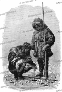 chukchi men ice-fishing, 1882