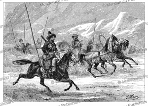 yakuts travelling by sled in siberia, victor adam, 1860