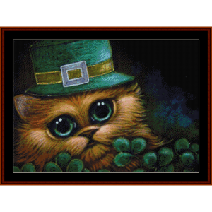 feline leprechaun (large) cross stitch pattern by cross stitch collectibles