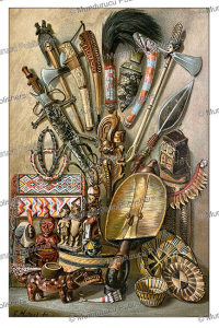 Weapons and tools of tribes of southwest Africa, Gustav Mu¨tzel, 1885 | Photos and Images | Digital Art