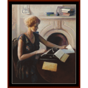 at the typewriter - guy du bois cross stitch pattern by cross stitch collectibles