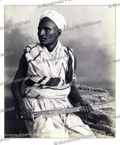 a ga^lie`h man from the sudan holds his kaskara sword, sudan, g. le´ke´gian & cie, 1880