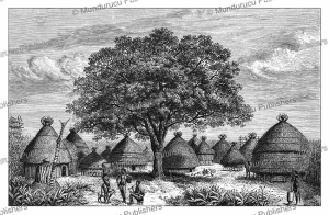 a bongo village in southern sudan, georg schweinfurth, 1878
