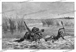 native of the shilluk tribe killed by a hippopotamus, south sudan, johann baptise zwecker, 1874