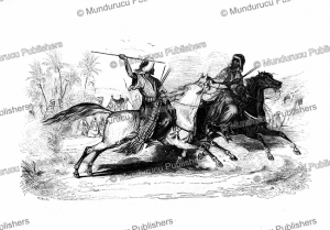 Two men riding on horseback trying to attack each other with spears, Arabia, E. Prisse D'Avennes, 1851 | Photos and Images | Digital Art
