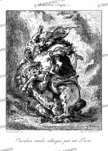 Arab horseman attacked by a lion, Euge`ne Delacroix, 1872 | Photos and Images | Digital Art