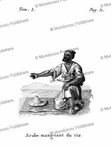 an arabian man eating some rice, arabia, f. massard, 1816