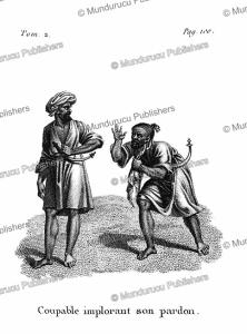 a guilty man imploring for forgiveness, arabian desert, f. massard, 1816
