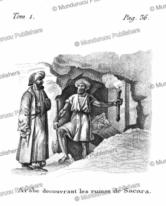arabs discover the ruins of sacara, arabia, f. massard, 1816