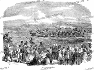 War-canoe competition of the Ngaiterangi Maori tribe, Northern Island of New Zealand, General Robley, 1866 | Photos and Images | Digital Art