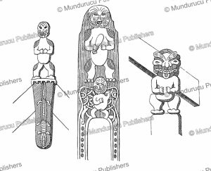 Maori woodcarvings for decoration on houses near Lake Rotorua, New Zealand, Richard Oberlander, 1873 | Photos and Images | Digital Art