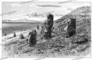 Easter Island giant statues on the coast of Easter Island, Wilhelm Sievers, 1895 | Photos and Images | Digital Art