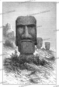 Statues at Ronororaka, Easter Island, Alexander de Bar, 1883 | Photos and Images | Digital Art