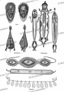 masks and images of spirits used in de duk-duk ceremonies, new britain, r. parkinson, 1887