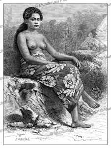 Young girl of Rimatara Island, Austral Islands in French Polynesia, E. Ronjat, 1885 | Photos and Images | Digital Art