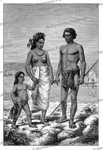 Family returning from fishing, Rarotonga, Cook Islands, E. Ronjat, 1885 | Photos and Images | Digital Art