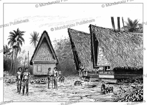 A village on Koror, one of the Palau Islands, Wilhelm Kuhnert, 1893 | Photos and Images | Digital Art