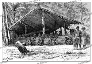 village house on santa ana, solomon islands, g. vuillier, 1889