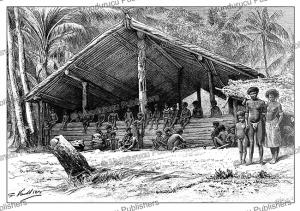 Village house on Santa Ana, Solomon Islands, G. Vuillier, 1889 | Photos and Images | Digital Art