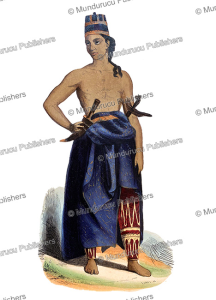 javanese man in ceremonial costume with daggers, indonesia, lisbet, 1844