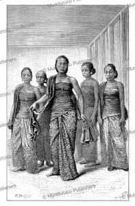 javanese ladies dancing, java, e. ronjat, 1880
