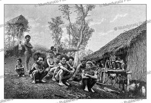 group of koyari or korowai chiefs, south-east new guinea
