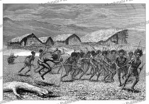 arfak papuan warriors on their way to dorey, e. mesples, 1879