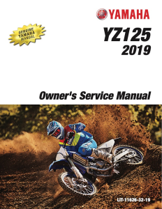 yamaha motorcycle yz125 2019 workshop & repair manual