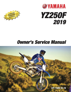 yamaha motorcycle yz250f 2019 workshop & repair manual