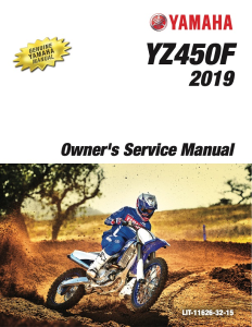 yamaha motorcycle yz450f 2019 workshop & repair manual