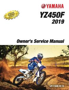 yamaha motorcycle yz450f 2019 workshop & repair manual