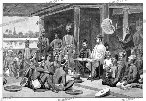 major raikes (1813-1909) meeting the chins of upper burma, the graphic, 1888
