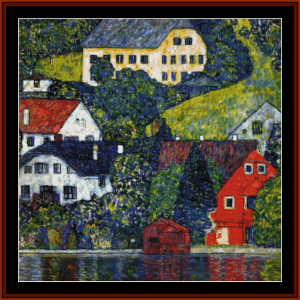 houses in unterach - klimt cross stitch pattern by cross stitch collectibles