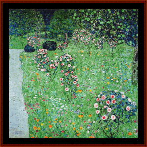 orchard with roses - klimt cross stitch pattern by cross stitch collectibles