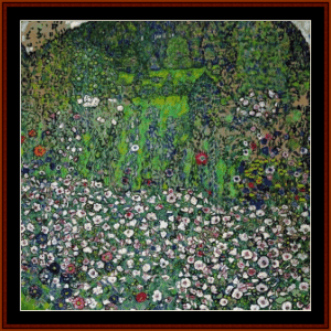 a view of the garden - klimt cross stitch pattern by cross stitch collectibles