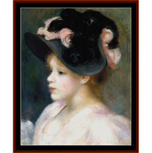 girl in pink and black hat - renoir cross stitch pattern by cross stitch collectibles