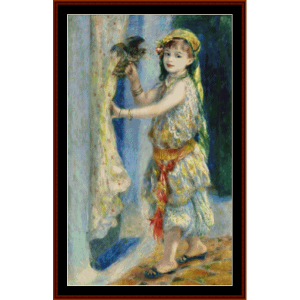 girl with falcon - renoir cross stitch pattern by cross stitch collectibles
