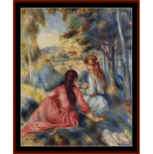 girls in the meadow - renoir cross stitch pattern by cross stitch collectibles