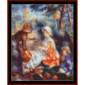 woman selling apples - renoir cross stitch pattern by cross stitch collectibles